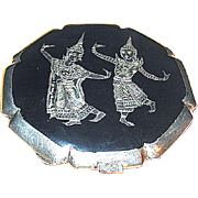 Excellent Siam Sterling Silver Niello Compact w Deities on Both Sides