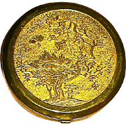 "Langlois ""SHARI"" Powder Compact w Gilt Asian Designed Lid"