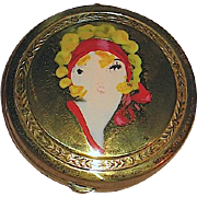 Delightful 20's Art Deco Vanity Compact w Flapper Face