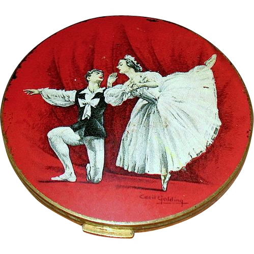 Cecil Golding Stratton Compact,Vaslav Nijinsky & Anna Pavlova Dancing in Les Sylphides