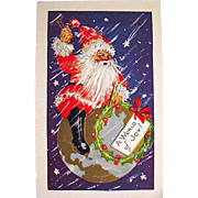 Mint Condition Santa Claus on Top of the World Christmas Postcard