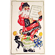 Mint Condition Giant Santa Claus & Dancing Children Christmas Postcard