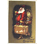 Santa Claus w Suitcase, Sack of Toys,Gold Background Christmas Postcard