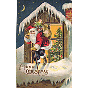 1908 Christmas Postcard with Santa Claus on Rooftop