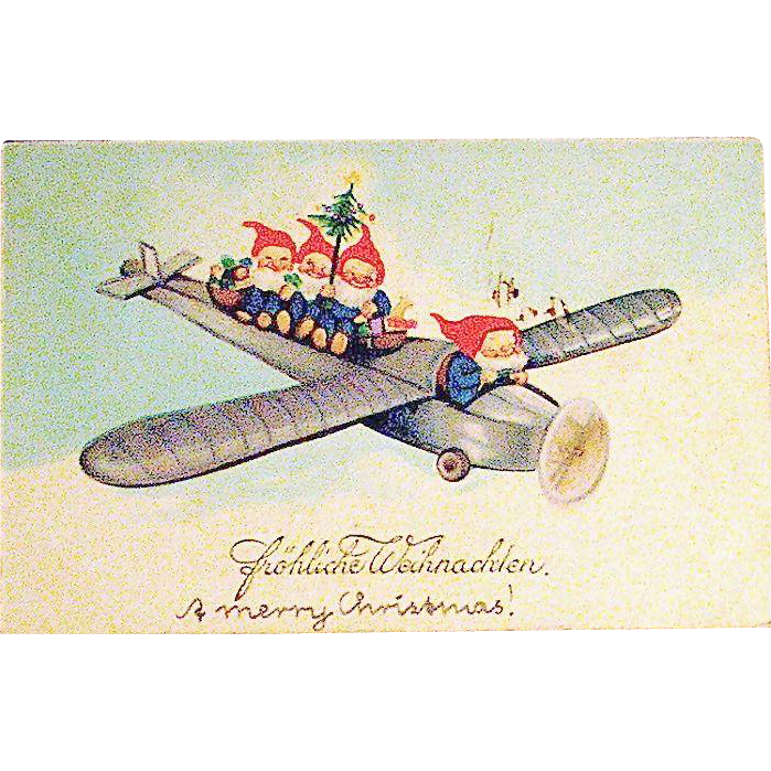 EAS German Christmas Fantasy Postcard w Adorable Gnomes Flying Airplane