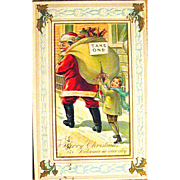 J.J. Marks 567 Santa Claus & Naughty Boy Comical Christmas Postcard