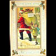 J.J. Marks 567 Santa Claus & Naughty Boy Comical Christmas Postcard
