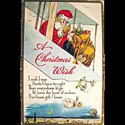 Santa Claus Drops Toys from His Biplane 1919 Christmas Postcard