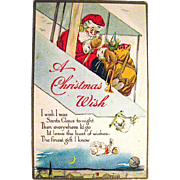 Santa Claus Drops Toys from His Biplane 1919 Christmas Postcard