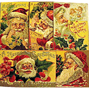 Same Series of FIVE Large Santa Claus Face Christmas Postcards
