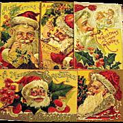 Same Series of FIVE Large Santa Claus Face Christmas Postcards