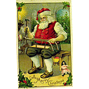 Vintage Unused Christmas Postcard, Santa Claus in his Workshop Making Toys