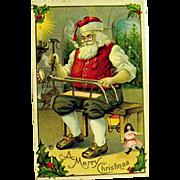 Vintage Unused Christmas Postcard, Santa Claus in his Workshop Making Toys