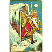 Delightful Antique Santa Claus Fantasy Christmas Postcard