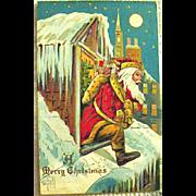 Delightful Antique Santa Claus Fantasy Christmas Postcard