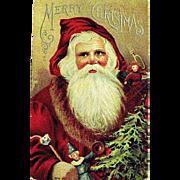 1912 Christmas Postcard, Large Santa Claus Image