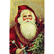 1912 Christmas Postcard, Large Santa Claus Image