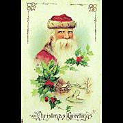 1914 Saxony Santa Claus GEL Christmas Postcard--EXCELLENT