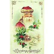 1914 Saxony Santa Claus GEL Christmas Postcard--EXCELLENT
