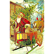 Early Santa Claus & Reindeer Postcard w Heavily Gilded Graphics