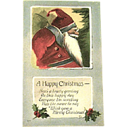 Pristine Vintage Christmas Postcard w Jolly Old Elf-Like Santa Claus