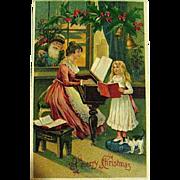 HTF German Christmas Postcard, Santa Claus, Mother & Child w Kitty