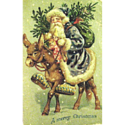 Beautiful German Early Santa Claus on Burro Christmas Postcard