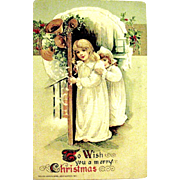 Schmucker Winsch Christmas Postcard, Children See Santa Claus