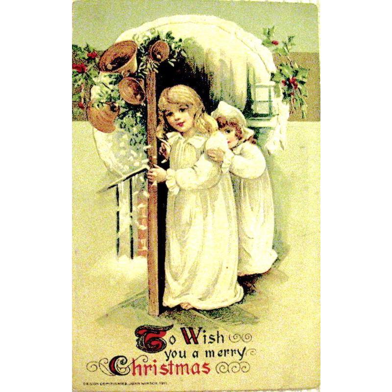 Schmucker Winsch Christmas Postcard, Children See Santa Claus