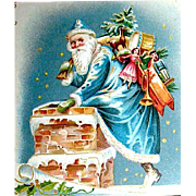 Scarce Tuck UDB Christmas Postcard, Santa Claus in Blue Enters Chimney