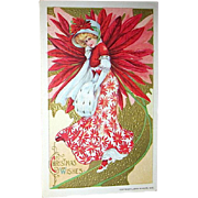 Winsch Christmas 1910 Postcard, Poinsettia Dressed Beautiful Lady