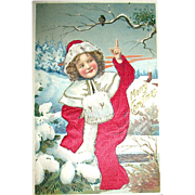 Beautiful German Christmas Postcard, Girl in Silk Coat & Singing Bird - Red Tag Sale Item