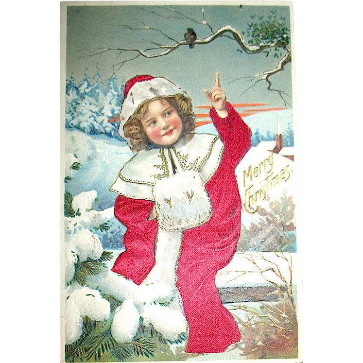 Beautiful German Christmas Postcard, Girl in Silk Coat & Singing Bird