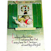 "Clapsaddle Postcard, Children Welcome ""DAD"" Home for Christmas"