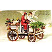 Unused Christmas Postcard, Early Santa Claus & Angel Deliver Gifts