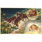 German Christmas Postcard, Child Dreams of Santa Claus & Reindeer