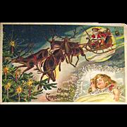 German Christmas Postcard, Child Dreams of Santa Claus & Reindeer