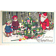 Delightful Christmas Postcard, Sleeping Santa Claus & Children