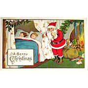 Delightful Christmas Postcard, Santa Claus and Sleeping Children