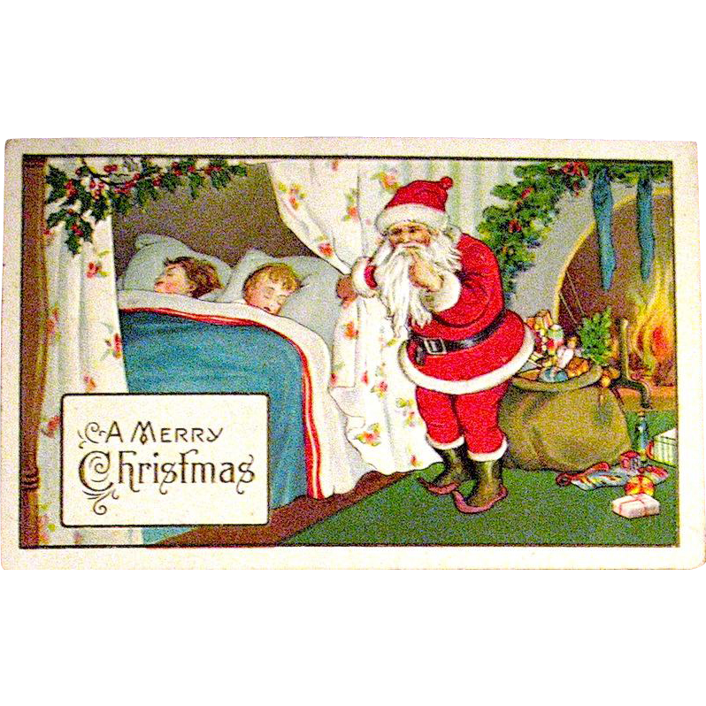 Delightful Christmas Postcard, Santa Claus and Sleeping Children