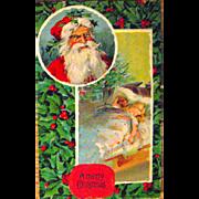 Pair of Christmas Postcards, same series, Santa Claus w Crown