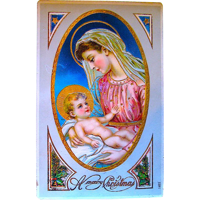 Stunning German GEL Christmas Postcard, Beautiful Nativity Scene