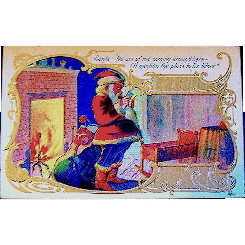 Comical Santa Claus Postcard from Same Christmas Series  (2 of 2)