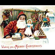 Rare Postcard, Santa Claus at Outdoor Christmas Market