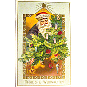 Tuck & Sons Postcard, Santa Claus Decorates Christmas Tree