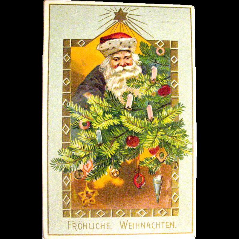 Tuck & Sons Postcard, Santa Claus Decorates Christmas Tree