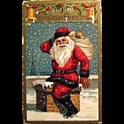 Jolly Santa Claus on Chimney Christmas Postcard