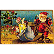 Unused M.A.P. Christmas Postcard, Santa Claus on Early Telephone—Gold Version