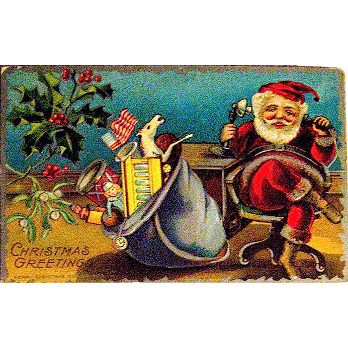 Unused M.A.P. Christmas Postcard, Santa Claus on Early Telephone—Silver Version