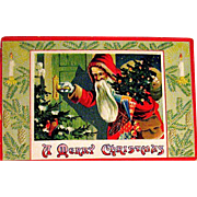 Saxony Printed Christmas Postcard, Old World Santa Claus